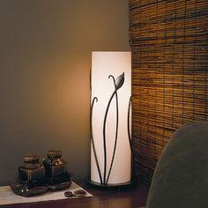 "Hubbardton Forge Leaf 18"" Table Lamp Finish: Bronze, Shade Color: Stone"