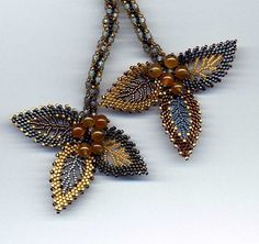 Russian Leaves Lariat Gold Gray detail.  Seed bead woven by Jeka Lambert.  Honey Jade beads, seed beads. Love these colors