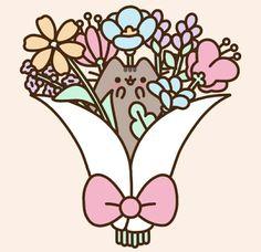 Kawaii Pusheen in a bouquet of flowers! Gato Pusheen, Pusheen Love, Pusheen Stuff, Pusheen Stormy, Pusheen Stickers, Kawaii 365, Nyan Cat, Gif Animé, Princess Luna