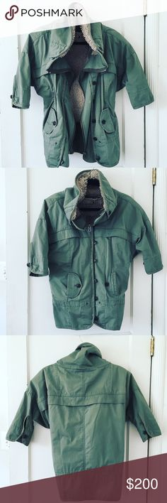 Moda Army Green Utility Jacket Moda army green cotton lined utility jacket. Very Free People Style. Good used condition. Purchased from Victoria's Secret . Removable inner furry vest: Anthropologie Jackets & Coats Utility Jackets