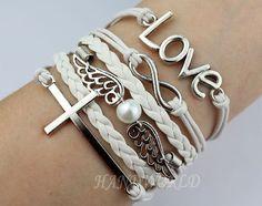 silvery cross bracelet infinity karma bracelet love bracelet silvery wings bracelet personalized charm bracelet best gift -N1255