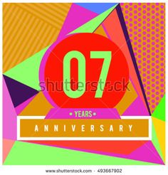 7th years greeting card anniversary with colorful number and frame. logo and icon with Memphis style cover and design template. Pop art style design poster and publication.