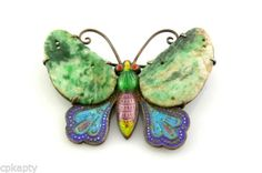 RARE Antique China Export Chinese Silver Enamel Jade Butterfly Brooch Pin | eBay