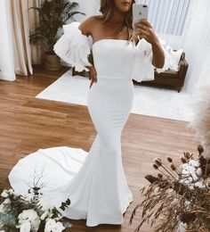 """Emmy Mae Bridal on Instagram: """"Another snap of our girl Bec wearing #emHazel!! Cannot get enough 😳"""" Simple Wedding Gowns, Simple Gowns, Cute Wedding Dress, Wedding Party Dresses, Party Wedding, Pretty Prom Dresses, Mermaid Prom Dresses, Beautiful Dresses, Event Dresses"""