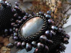bransoletka  labradoryt,perły,szkło