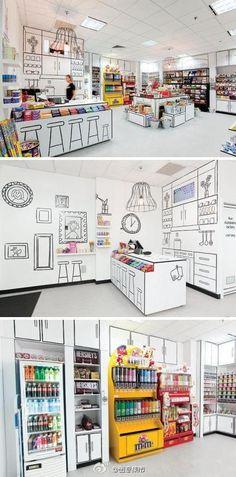 墨尔本这家名为The Candy Room的糖果店如同女孩子的漫画世界,在全白色的墙面地面及展示桌上,黑色线条勾勒出物体的轮廓并画上装饰画。黑白配让色彩缤纷的糖果更为突出,创造出轻松玩味的氛围。 (转)