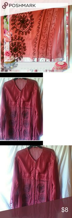 Sheer top burgundy and black not red top Sheer wish piping and embroidered stitching Tops Blouses