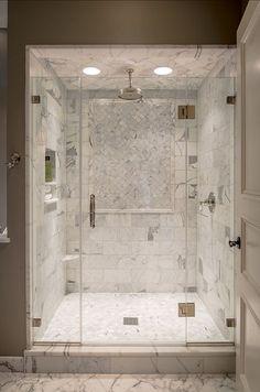 Marble Shower Tile Design 7 (Marble Shower Tile Design design ideas and photos Cozy Bathroom, Bathroom Renos, Small Bathroom, Master Bathroom, Shower Bathroom, Shower Door, Master Shower, 1950s Bathroom, Shower Tiles