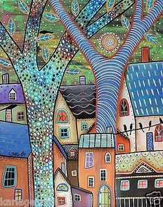 Dwellings CANVAS PAINTING Houses Birds 16x20inch FOLK ART ABSTRACT Karla G...Brand new painting, now for sale..