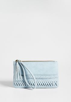 faux leather wristlet with braided and woven front | maurices