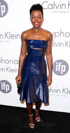 Lupita Nyong'o dazzled in a shiny midnight blue Calvin Klein dress at Cannes on May 15, 2014.