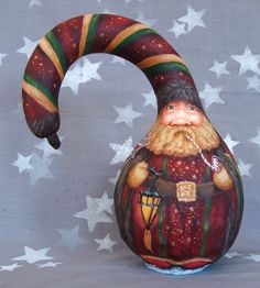 Peppermint Castle Santa Claus gourd Hand Painted 9 by SuzysSantas