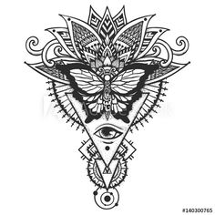 Butterfly on ethnic leaves and all seeing eye, Freemason and spiritual symbols for back tattoo,T-Shirt and other print design. Stock Vector
