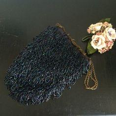 Vintage Beaded Flapper Wristlet Black and  by VintagePussycatShop
