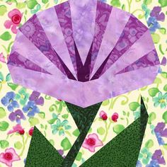 """Morning Glory (paper pieced quilt block approx 6"""" block) $2.95"""