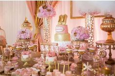 Wow! What an amazing pink and gold princess baby shower party! See more party planning ideas at CatchMyParty.com!