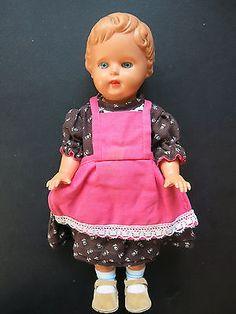 """Selten: Schildkröt-Puppe """"Evchen"""" von ca. 1961, 34 cm, blaue Glasaugen"""