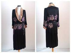 Rare 1930s wrap dress  30s  black liquid satin robe   30s