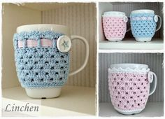 Knitting Patterns Needles After Stitch And Thread: New Ebook: Cup Cozies - crochet cup warmer in 2 variants Crochet Coffee Cozy, Crochet Cozy, Crochet Gifts, Cute Crochet, Crochet Blanket Patterns, Knitting Patterns, Mug Cozy Pattern, Crochet Kitchen, Crochet Basics