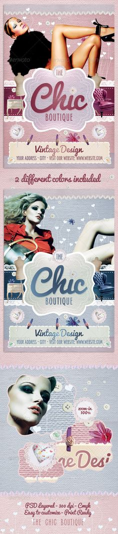 The Chic Boutique Flyer Template $6. *** This flyer is perfect for the promotion of Shops/Boutiques, Fashion Shows, New Collections or Whatever you Want!. ***