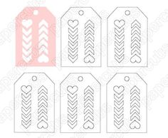 Heart Chevron Tags digital cut file for cameo or silhouette machines INSTANT DIGITAL DOWNLOAD, print and cut