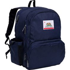 Wildkin State of Mind Megapak Backpack - Blue California - School... ($32) ❤ liked on Polyvore featuring bags, backpacks, blue, knapsack bag, water bottle backpack, blue bag, daypack bag and wildkin backpack