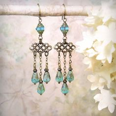 Pompeii - Aqua Opal Chandelier Earrings,  Antique Roman Style