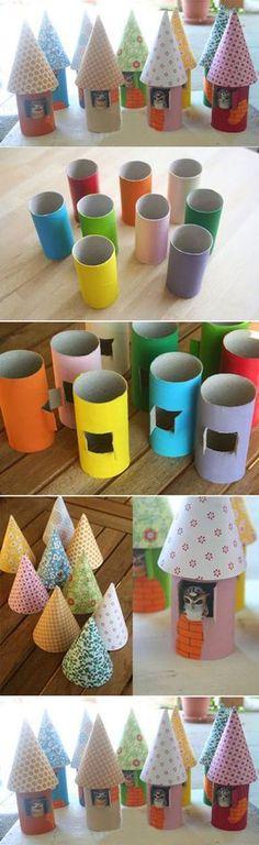 Maisonnettes en rouleau de papier.