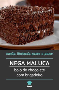 Confira como fazer este bolo irresistível! #bolodechocolate #negamaluca #receita #receitacaseira #comida #sobremesas #brigadeiro #bolobrigadeiro