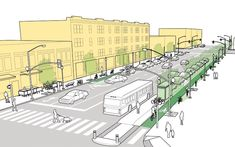 DOWNTOWN  In the heart of the commercial district, the right-of-way becomes a busy, downtown space full of buses, bikes, cars, and pedestrians. Street Design in Context | NACTO