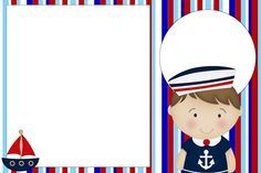 Convites do tema Marinheiro para imprimir - Dicas pra Mamãe Scrapbook Frames, Baby Scrapbook, Sailor Baby, Oh My Fiesta, Baby Shawer, Diy Birthday Decorations, Nautical Party, Mermaid Birthday, Baby Cards