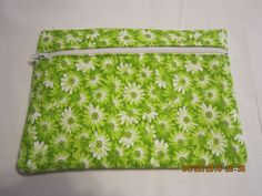 """8"""" Cosmetic Bag / Make Up Bag / Pencil Pouch - Sunshine Floral {Lime Green} by ShawnasSpecialties on Etsy"""