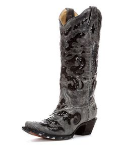 Women's Black Crater Sequins Inlay Boot via Country Outfitters