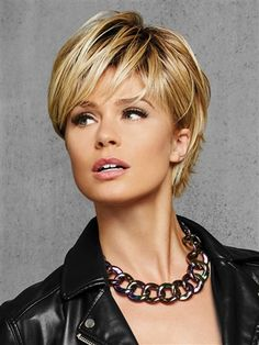 Full, side sweeping fringe and chin-length layered sides beautifully blend into textured layers at the nape for a no-fuss, contemporary silhouette. Designed for the active woman who wants to effortlessly change her style and/or color, the Hairdo TEXTURED FRINGE BOB wig is perfect for a fun alternative look.