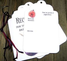 20 Fig Jumbo Tag Recipe Cards - Personalized - Printed - Recipe Book - Kitchen Art - Foodie - Bridal Shower - Housewarming Gift