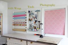 Wall idea for craft room. Love the finishing ideas like dipping the ends of the pegboard holders in pink nail polish (cute and shiny). I can so do this.