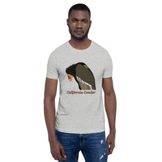 A great t-shirt for bird lovers, featuring the iconic California Condor. This t-shirt is everything you've dreamed of and more. It's comfortable and flattering for both men and women. California Condor, Great T Shirts, Fabric Weights, Lovers, Birds, Unisex, Sleeve, Cotton, Mens Tops