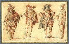 """""""Four Commedia dell'Arte figures: Three Gentlemen and Pierrot"""", 1715 by Claude Gillot.                                              Wikipedia, the free encyclopedia"""