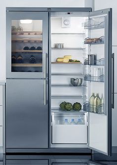 The AEG Santo 75598 KG refrigerator has a built-in wine cooler.  The stainless steel side by side model comes complete with a separate wine section that can hold up to 39 bottles.