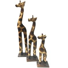 Set of 3 Wooden Giraffe Ornaments, Brown