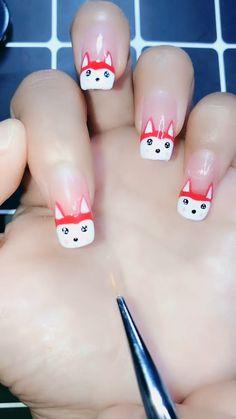 Cartoon Nail Designs, Diy Nail Designs, Cute Nail Art, Cute Nails, Circus Nails, Nail Art For Beginners, Nail Art Videos, Manicure At Home, Nail Tools