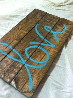 Love Wood Sign #wedding #wooden #signs #vintage #love #custimzed #art #pallet #handmade #DIY