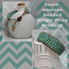 Southwestern Turquoise (color) Beaded Single Wrap Bracelet, LONGER LENGTH, Tribal Copper Button, Copper Accents, Bohemian Bracelet by SHBeadCreations on Etsy