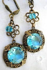 Aqua Earrings how to make Vintage looking jewelry for free