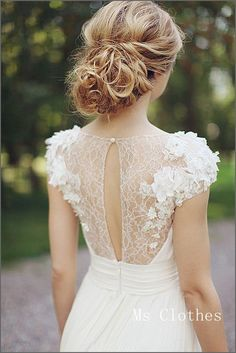I like the #romantic #lace back. #wedding #dress