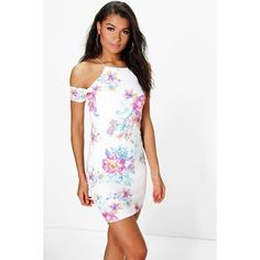 Boohoo Thea Floral Cold Shoulder Strappy Bodycon Dress ($26) ❤ liked on Polyvore featuring dresses, ivory, bodycon maxi dress, floral maxi dress, ivory maxi dress, bodycon dress and white bodycon dress
