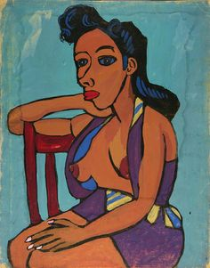 Seated Semi-Nude Woman in Purple Playsuit (1939-40), William H. Johnson, born Florence, SC 1901-died Central Islip, NY 1970