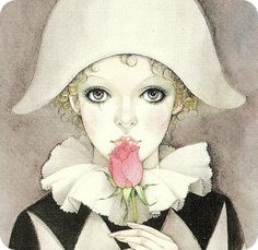 Vintage Retro Mira Fujita postcard Pierrot Clown with Tear Clown Paintings, Pierrot Clown, Clown Faces, Send In The Clowns, Art And Illustration, Oeuvre D'art, Illustrators, Fantasy Art, Art Projects