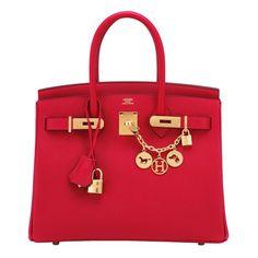 77a1153986d2 Hermes Rouge Casaque 30cm Birkin Red Epsom Gold Hardware Gorgeous