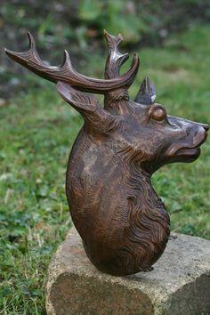Black Forest Hand carved Deer Head